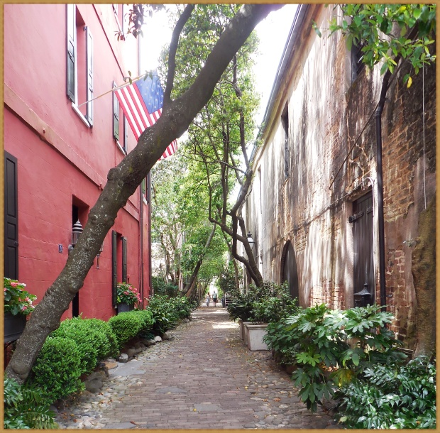 A typical cobbled alleyway in historic Charleston