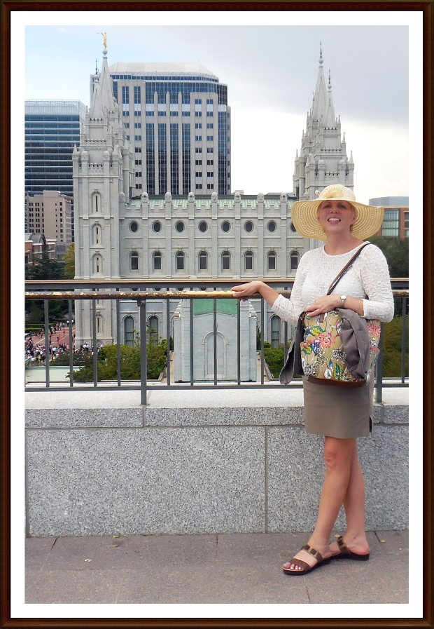 Kerry in front of the Temple, SLC