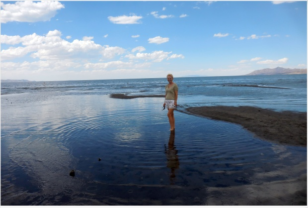 Kerry paddling in the Great Salt Lake