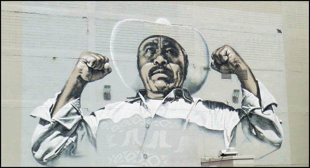 There are murals all over downtown El Segundo Barrio. This is Pancho Villa.